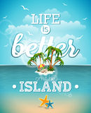 Life is better on the island inspiration quote on seascape background. Vector typography design element for greeting cards  Royalty Free Stock Image