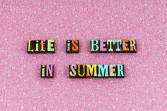 Life better summer live enjoy letterpress. Life better summer live enjoy typography letterpress bikini beach happy happiness love relationship friends friendship stock photography