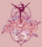 `Life is better when you dance!` poster. Ballerina in dance and peony flowers, `Life is better when you dance!` poster, pastel palette, can be used as banner for vector illustration