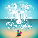 Life is betterin flip-flops inspiration quote on seascape background. Vector typography design element for greeting cards. And posters. Eps 10 illustration Royalty Free Stock Photos