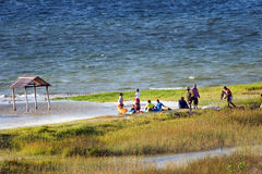 Daily life at Bilene lagoon in Mozambique. Royalty Free Stock Photos