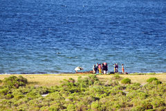 Daily life at Bilene lagoon in Mozambique. royalty free stock photo