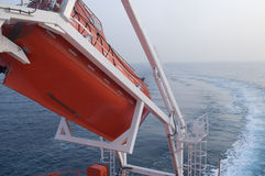 Life boat. Free fall life boat of modern ship Stock Photos