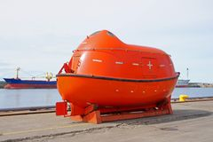 Life boat. The life boat is on a mooring in port Royalty Free Stock Photography