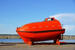Life boat. The life boat is on a mooring in port Royalty Free Stock Photos