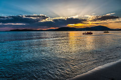Life boat in Alghero shore at sunset Royalty Free Stock Photography