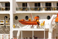 Life boat. Copenhagen, Denmark-July 15, 2017:Closeup of `MSC Magnifica` cruise ships lifeboat Stock Image