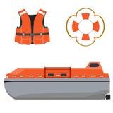 Life boat, jacket and buoy Stock Photos