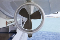 Life boat Propeller. The propeller of a Life Boat is enclosed by a circular safety ring Stock Photography
