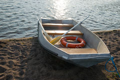 Life boat on shore Royalty Free Stock Photos