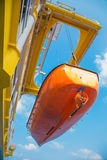 Life boat,survival craft or rescue boar at oil and gas platform landing for test Stock Photography