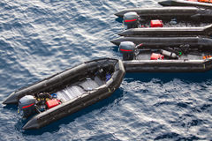 Free Life Boats In The Sea For Help And Support People. Rescue Boats In The Sea, Rubber Boat With The Engine Stock Images - 43785754