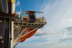 Life boats on oil rig Royalty Free Stock Photo