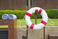 Life bouy. On stand at poolside Stock Images