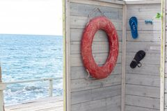 Life bouy in booth on Black Sea. Background royalty free stock image