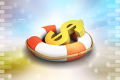 Life bouy with dollar Stock Photo