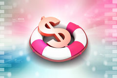 Life bouy with dollar Royalty Free Stock Image