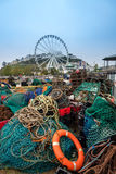 Life bouy and fishing nets royalty free stock photography