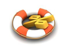 Life bouy with percentage sign Royalty Free Stock Photos