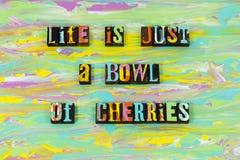 Life bowl cherries good great love enjoy live letterpress type stock illustration