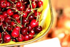 Life is a Bowl of Cherries. A Bowl of Red Cherries in Odessa, Ukraine, Fruit Royalty Free Stock Image