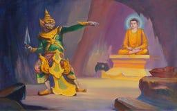 Life of Buddha painting. YANGON, BURMA - FEB 18, 2015 - Life of the Buddha painting  in Chauk Htat Gyi Pagoda, Yangon, Myanmar (Burma Stock Photo
