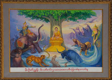 Life of Buddha painting. YANGON, BURMA - FEB 18, 2015 - Life of the Buddha painting  in Chauk Htat Gyi Pagoda, Yangon, Myanmar (Burma Royalty Free Stock Photo