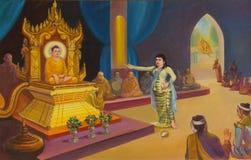 Life of Buddha painting. YANGON, BURMA - FEB 18, 2015 - Life of the Buddha painting  in Chauk Htat Gyi Pagoda, Yangon, Myanmar (Burma Stock Image