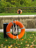 Life buoy. Beside the bank Royalty Free Stock Photo
