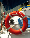 Life buoy. A life buoy on the deck of a sailboat Stock Photography