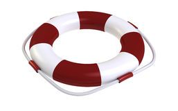 Life buoy. 3d render of  life buoy with red-white strips on a white background Royalty Free Stock Photo