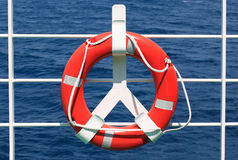 Life buoy. On ferry crossing the mediterranean sea to some Croatian island Stock Photos