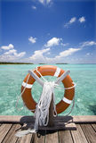 Life buoy. On jetty, Maldives Stock Images