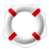 Life buoy. White life buoy. Vector illustration. Detailed portrayal