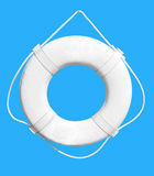 Life buoy. White Life Buoy isolated over blue background. Clipping path Stock Images