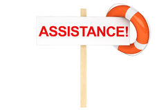 Life Buoy with assistance sign. Assistance Concept. Life Buoy with assistance sign on a white background Stock Photo