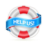 Life buoy banner. Help Us!. Detailed  illustration Royalty Free Stock Images