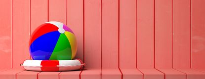 Life buoy and beach ball on wooden background, banner, copy space. 3d illustration. Summer beach holidays and safety. Life buoy and beach ball on wooden Stock Image