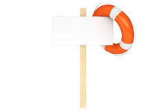 Life Buoy with blank sign. Help Concept. Life Buoy with blank sign on a white background Royalty Free Stock Image