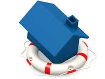 Life buoy with blue house Royalty Free Stock Photography