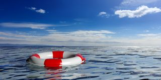 Life buoy on blue sea background. 3d illustration Stock Images