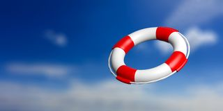Life buoy on blue sky background. 3d illustration Stock Photo