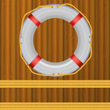 Life Buoy On boards Background, ropes Stock Photography