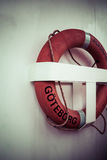 Life buoy on boat in Goteborg royalty free stock image