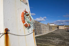 Life buoy on Burghead pier Stock Image