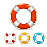 Life Buoy Color Set. Vector. Life Buoy Color Set with Rope. Vector illustration Royalty Free Stock Photography