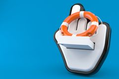 Life buoy with cursor. Isolated on blue background Stock Photo