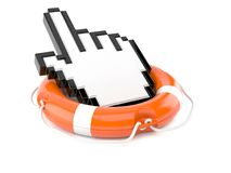 Life buoy with cursor. Isolated on white background Stock Photos