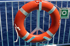 Life Buoy On The Deck Of Cruise Ship Stock Photos