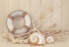 Life buoy decoration. On white shabby background Royalty Free Stock Photos